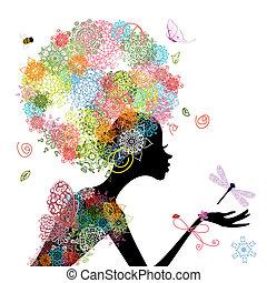 pelo, niña, moda, arabesco