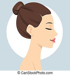 pelo, peinado, bollo