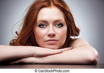 pelo, retrato, mujer, joven, rojo