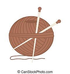 pelota, agujas, hilo, marrón, tejido de punto