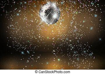 pelota, club enciende, plano de fondo, confeti, fiesta