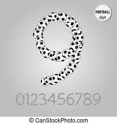 pelota, dígito, vector, fútbol