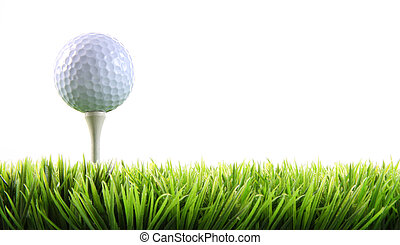 pelota de golf, pasto o césped, tee