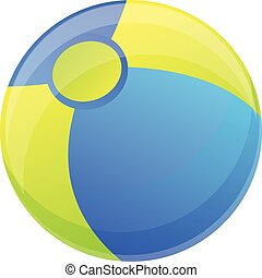 pelota de playa, icono, estilo, caricatura