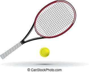 pelota de tenis, raqueta