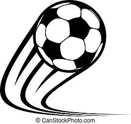 pelota, enfoque, vuelo, aire, por, futbol