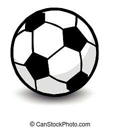pelota, futbol, aislado, blanco