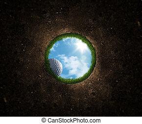 pelota, golf, caer