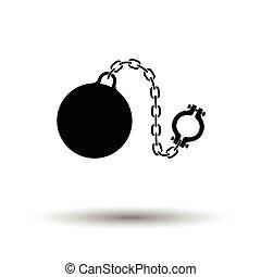 pelota, grillete, icono