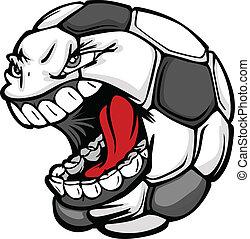 pelota, imagen, cara, vector, futbol, estridente, caricatura