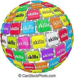 pelota, palabra, habilidades, requerido, experiencia, esfera, trabajo, carrera