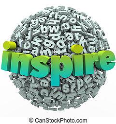 pelota, palabra, inspirar, de motivación, esfera, carta, educación, 3d