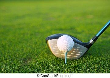 pelota, palo de golf, conductor, tee, curso, hierba verde