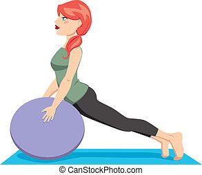 pelota, pilates, ejercicio