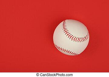 pelota roja, arriba, uno, beisball, cierre, encima