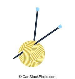 pelota, tejido de punto, hilo, icono, agujas