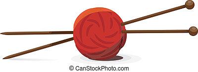 pelota, tejido de punto, ilustración, vector, agujas, lana
