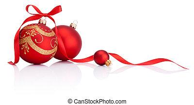 pelotas, aislado, arco, decoración, cinta, plano de fondo, navidad blanca, rojo