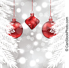 pelotas, shimmering, plano de fondo, navidad