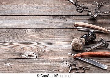 peluquero, de madera, vendimia, plano de fondo, tienda, herramientas