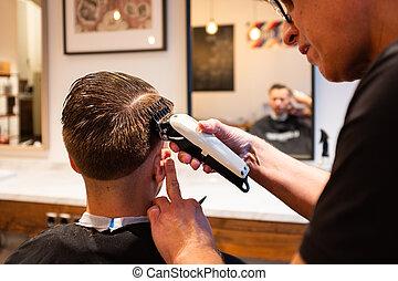peluquero, maquinilla de afeitar, hombre, pelo, trims, joven