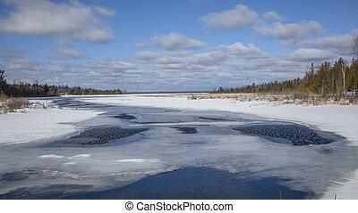 península, michigan, riachuelo, nieve, superior, bulldog, flotar