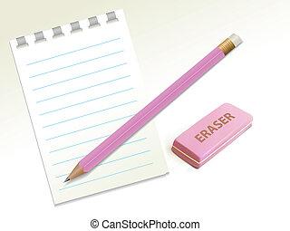 Penci, borrador, anotado