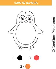 penguin., lindo, caricatura, colorido, números, página