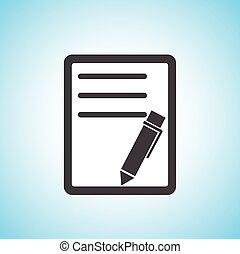 pen/paper, documento, icono