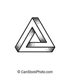 penrose, ilustración, triángulo