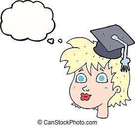Pensé que la mujer graduada de dibujos animados