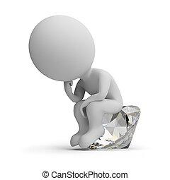 pensador, diamante, -, 3d, gente, pequeño