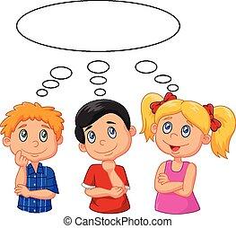 pensamiento, bu, caricatura, niños, blanco