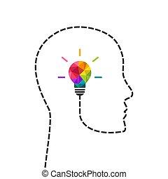 Pensamiento creativo y concepto de cabeza