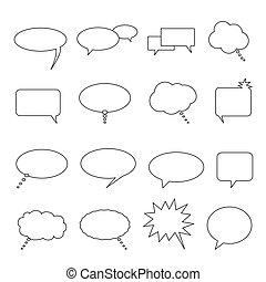 pensamiento, globos, discurso, charla