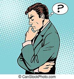 pensamiento, hombre de negocios, preguntas