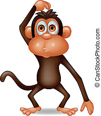 pensamiento, mono, caricatura