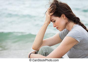 pensamiento, mujer, trastorno, profundo, triste