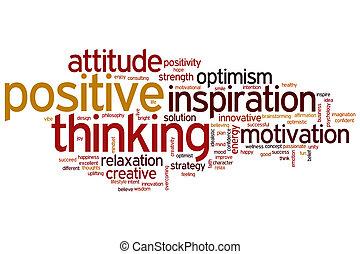 pensamiento, positivo, palabra, nube