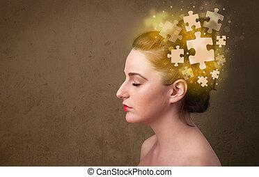 pensamiento, rompecabezas, mente, persona joven, encendido