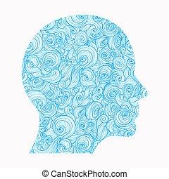 Pensando. El contorno de la cabeza humana, dentro de la cual hay un patrón de ondas interconectadas, simbolizando los pensamientos, sentimientos, mente...