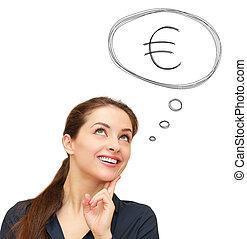 Pensando en la mujer de negocios con el signo del euro en burbujas sobre el fondo blanco