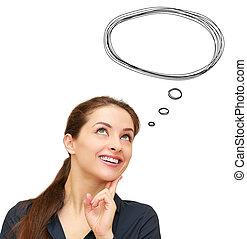 Pensando en una mujer con un discurso sobre una cabeza aislada en blanco