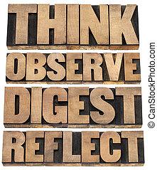pensar, digesto, observar, reflejar