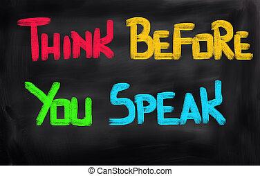 pensar, hablar, antes, usted, concepto
