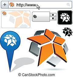 Pentagon de negocios diseño abstracto de logotipo.