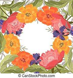 peonías, card., tagetes., caléndulas, vector, floral, marco, irises