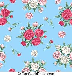 peonías, rosa, fondo., pattern., seamless, ilustración, peon., vector, floral, blanco