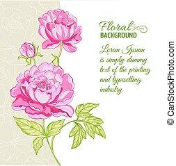 Peonías rosas con texto de muestra