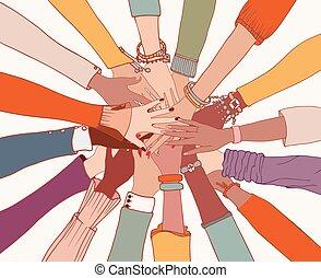people.people, grupo, people.community, manos, cultures.cooperation.agreement, entre, cima, colleagues.diversity, brazos, diverso, círculo, cada, diferente, otro, multi-ethnic